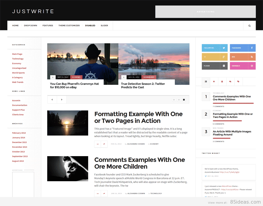 JustWrite A Free WordPress Theme by Acosmin