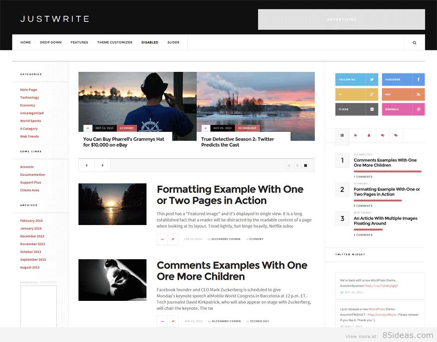 JustWrite A Free WordPress Theme by Acosmin