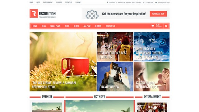 Resolution Free Magazine WordPress Theme