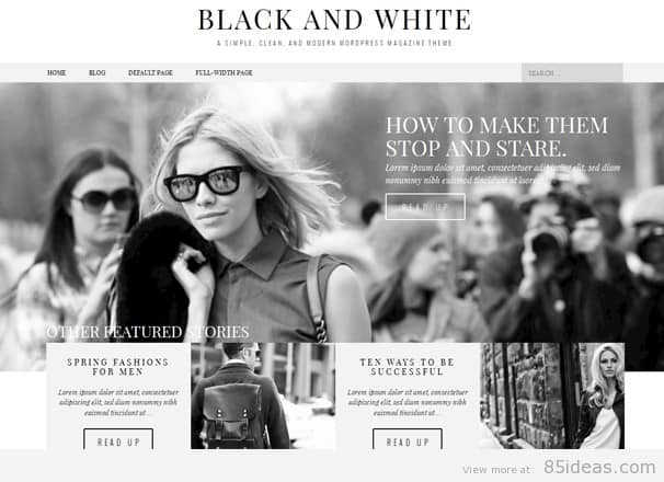 black white magazine theme