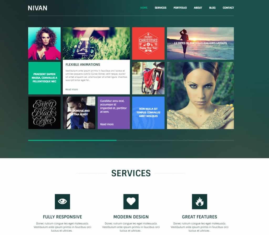 Nivan - One Page Multi Page WordPress Theme