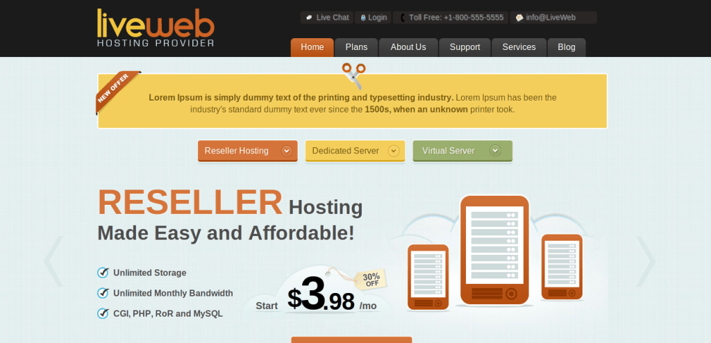 liveweb hosting theme