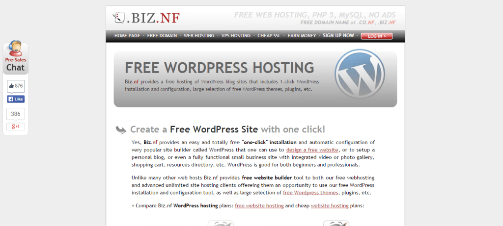 Biz Free WordPress Hosting