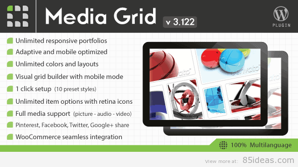 Media Grid WordPress Portfolio
