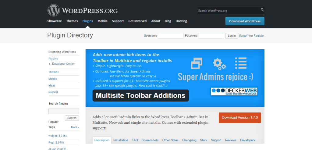 Multisite Toolbar Additions Plugin