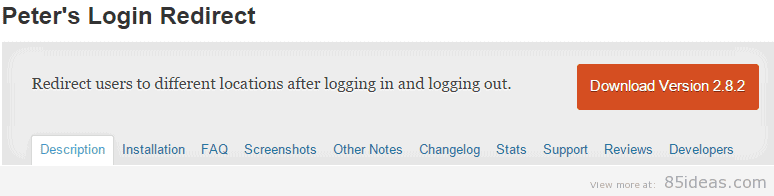 Peters Login Redirect Plugin