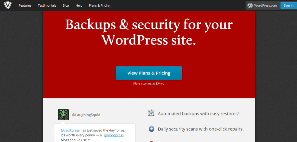 VaultPress Backup and Security