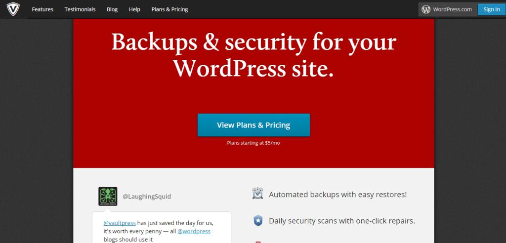 VaultPress Backup and Security