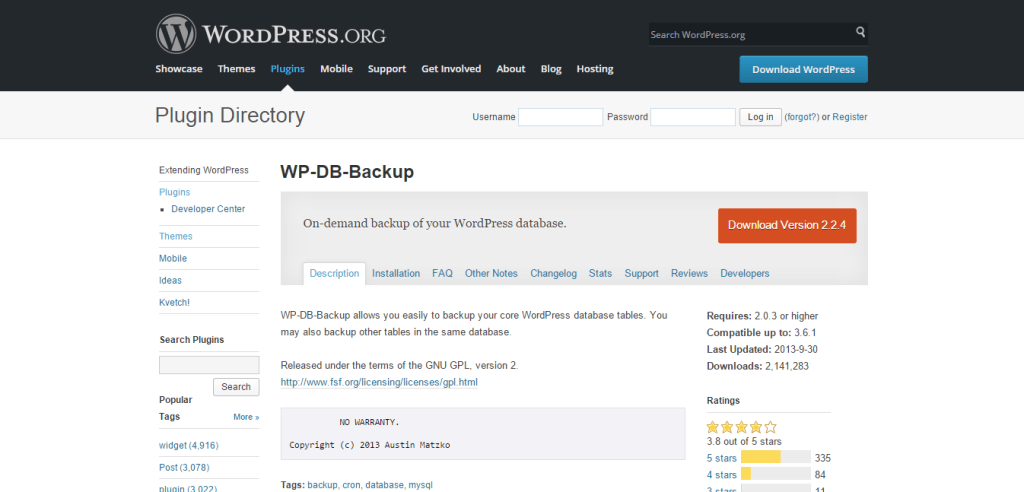 WP DB Backup