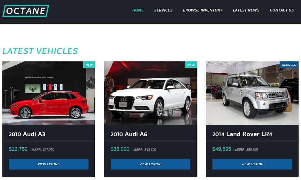 Octane Car Dealership WordPress Theme