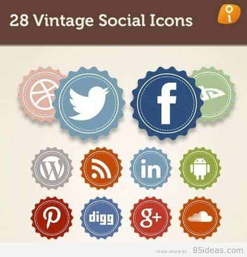 28 Vintage Social Icons