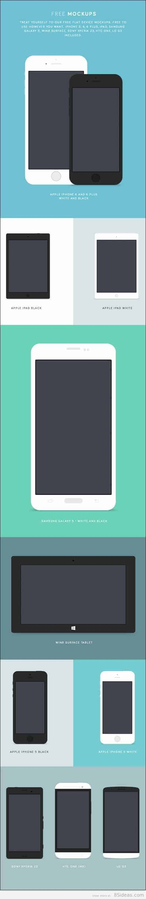 9 Free Mobile Phone PSD Device Mockups