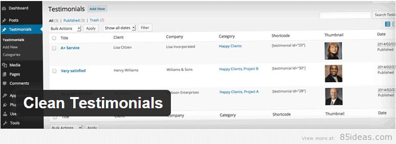 Clean Testimonials WordPress Plugin