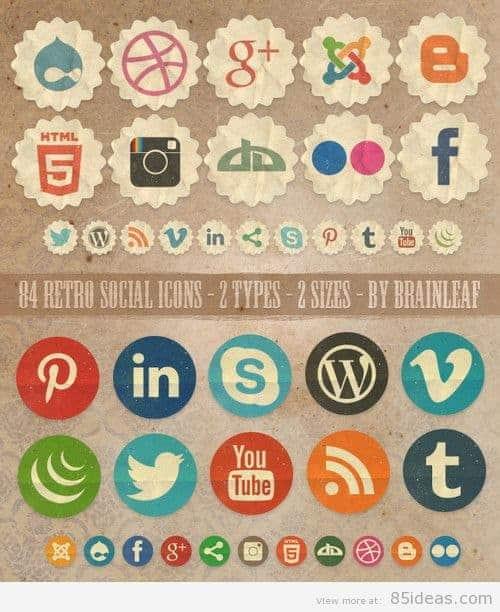 Free Retro Social Icons