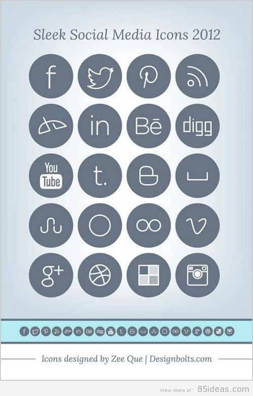 Free Simple Sleek Social Media Icons
