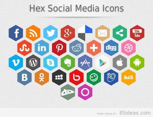Hex Social Media Icons