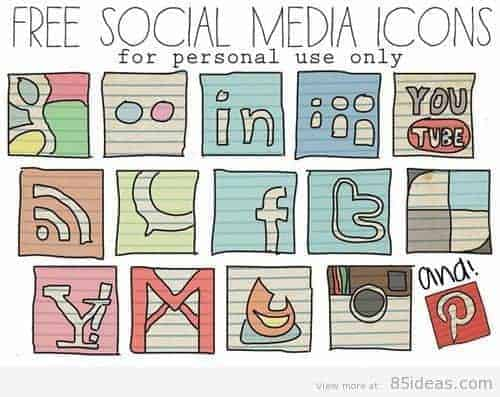 Large hand drawn retro social media