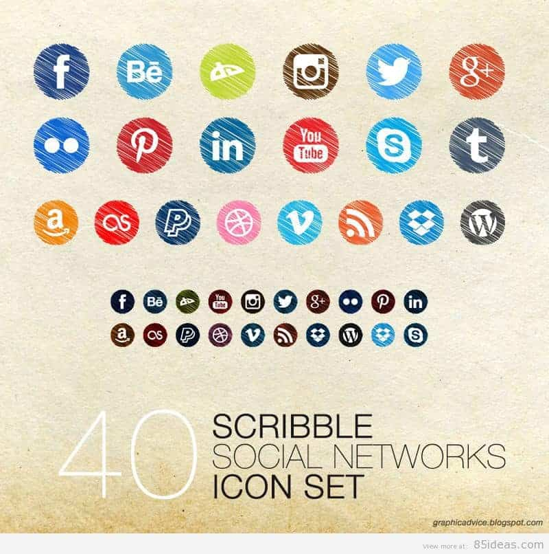 Scribble Social icons