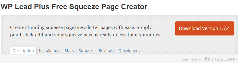 WP Lead Plus Free Squeeze Page Creator Plugin