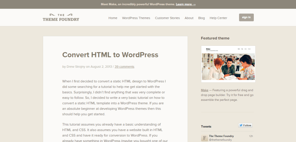 Convert HTML to WordPress The Theme Foundry