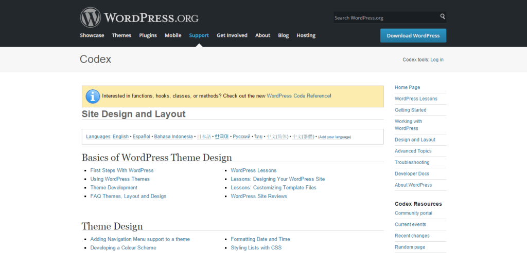 Site Design and Layout WordPress Codex
