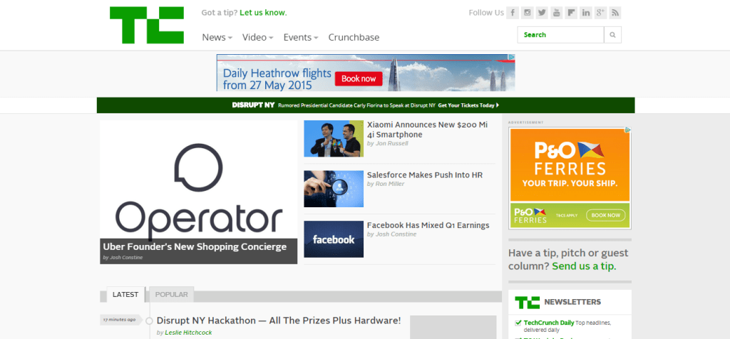 TechCrunch technology news
