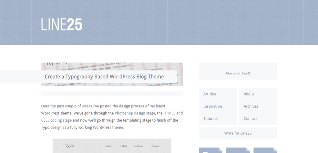 Typography Based WordPress Theme Line25