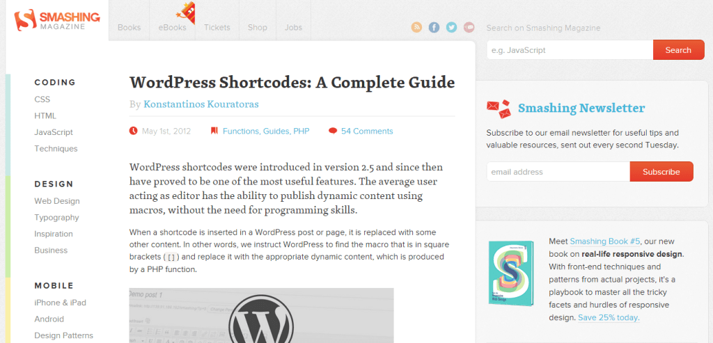 WordPress Shortcodes Guide SmashingMagazine