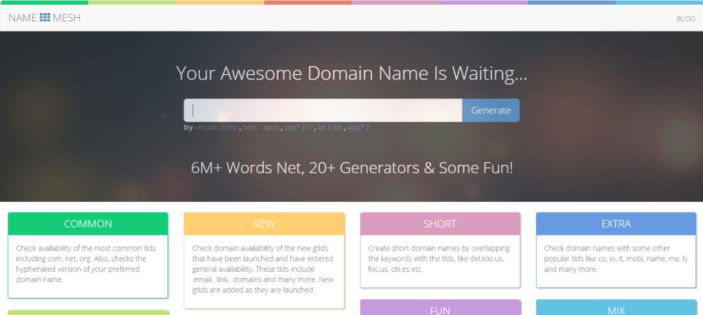 Domain Name Generator NameMesh
