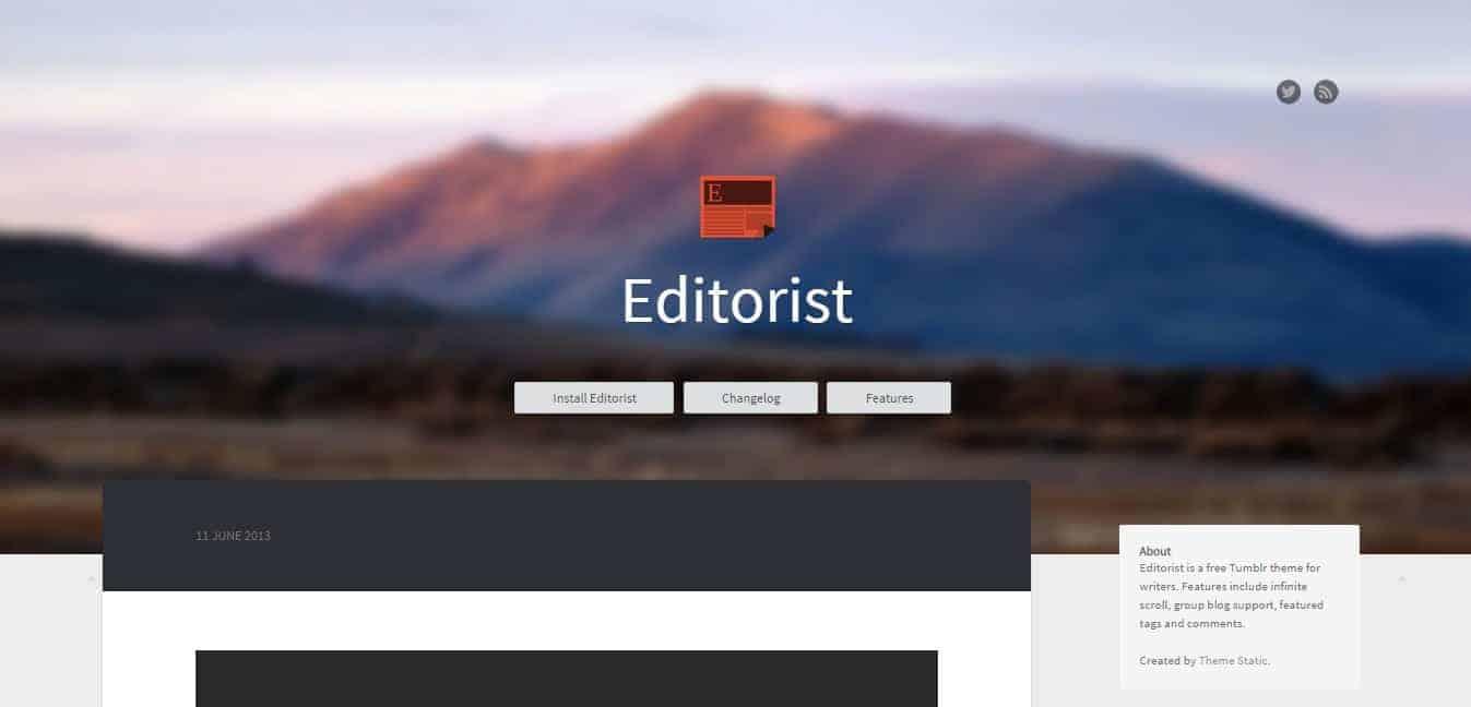 Editorist Tumblr Theme