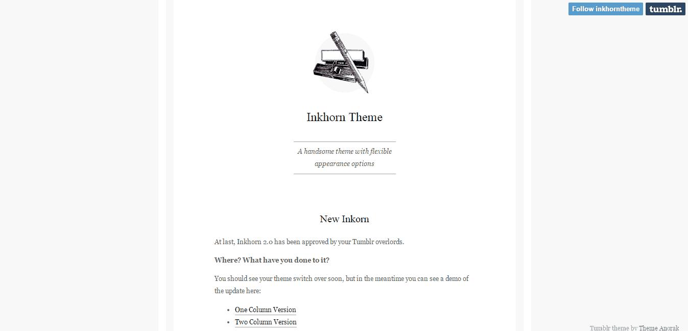 Inkhorn Tumblr Theme