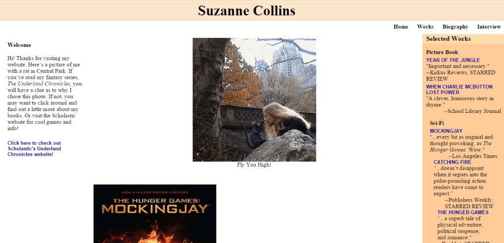 Suzanne Collins bad webdesign
