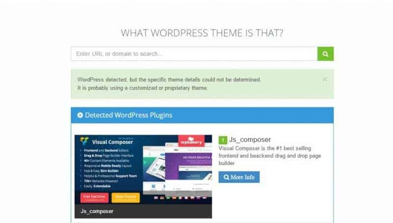 Know the WordPress theme used by a blog