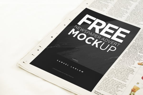 Free Newspaper Advert Mockup