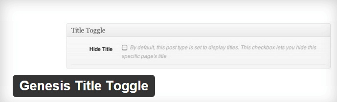 Genesis Title Toggle Plugin