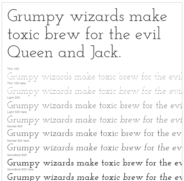 Google Fonts Josefin Slab