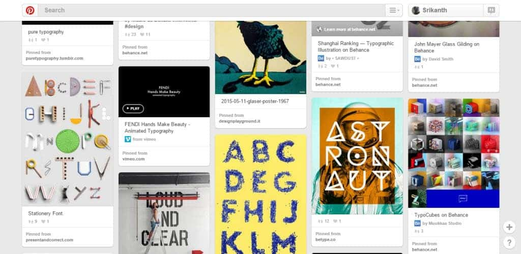 Andrea Giordano Typography Pinterest Board