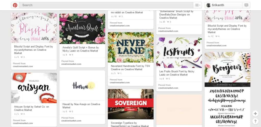 Cici Typography Pinterest Board