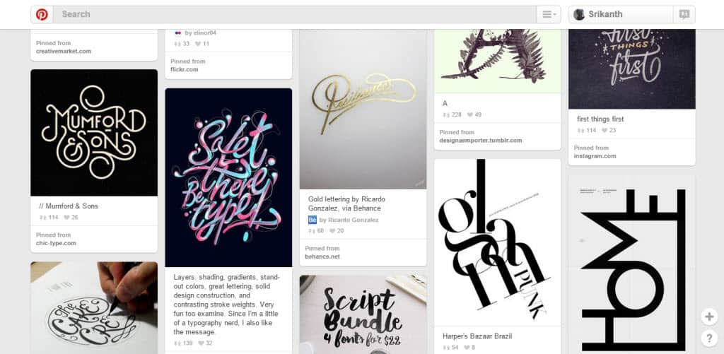 Design Quixotic Typography Pinterest Board