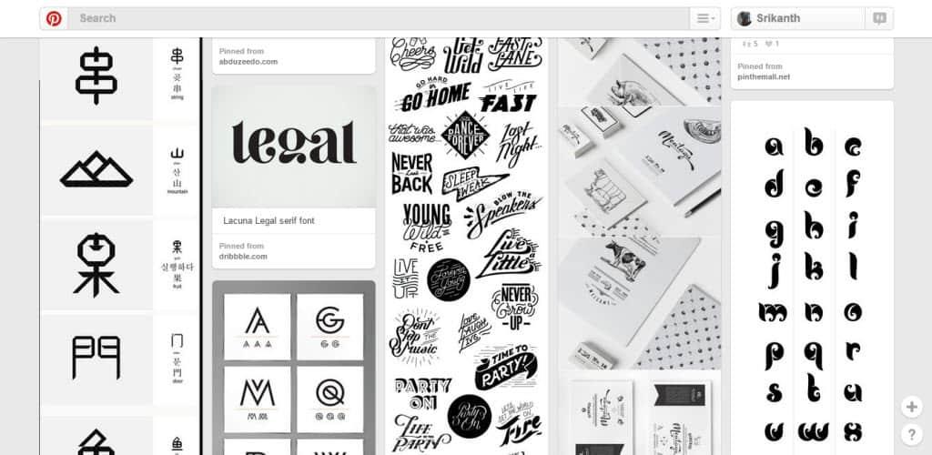 Gabriella Freire Typography Pinterest Board
