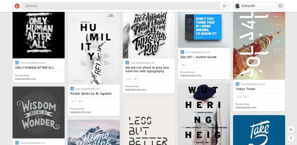 Inspiration DE Typography Pinterest Board