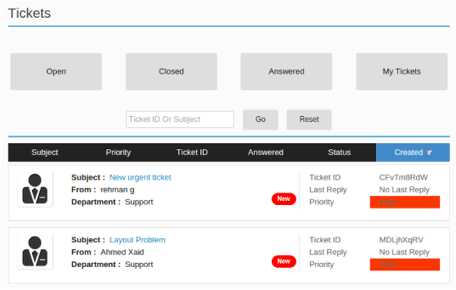 JS Support Ticket