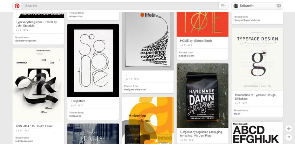 K Holt Typography Pinterest Board