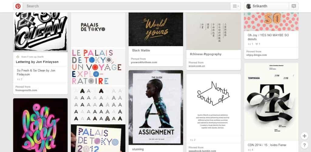 Kat Allen Typography Pinterest Board