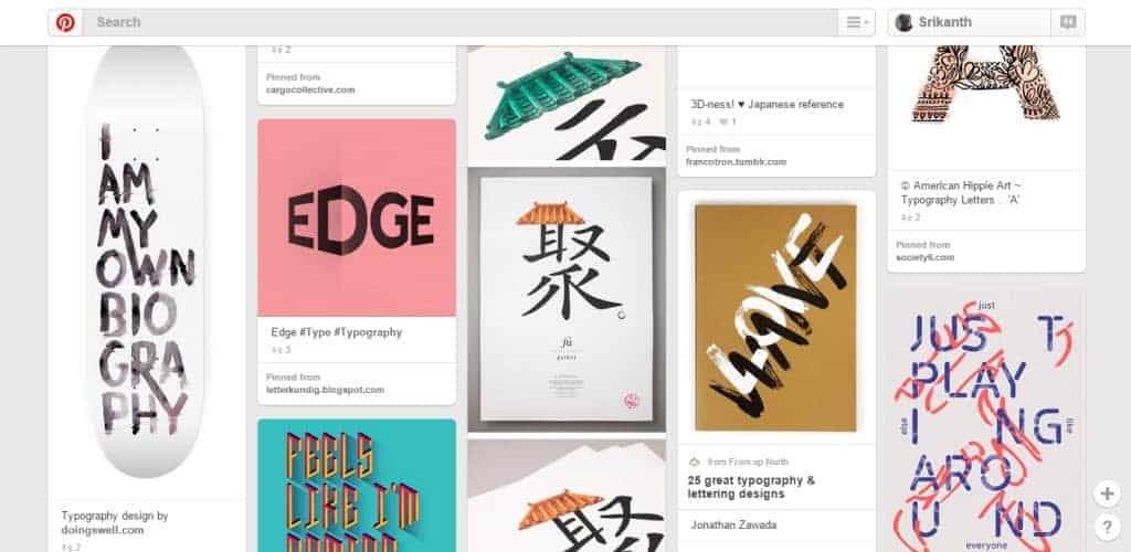 Peter Hong Typography Pinterest Board