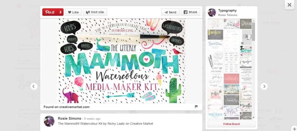 Rosie Simons Typography Pinterest Board