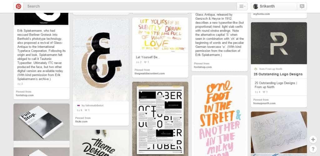 Samee Lapham Typography Pinterest Board