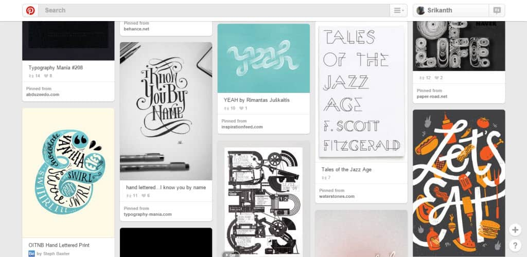 Shot of Ideas Typography Pinterest Board