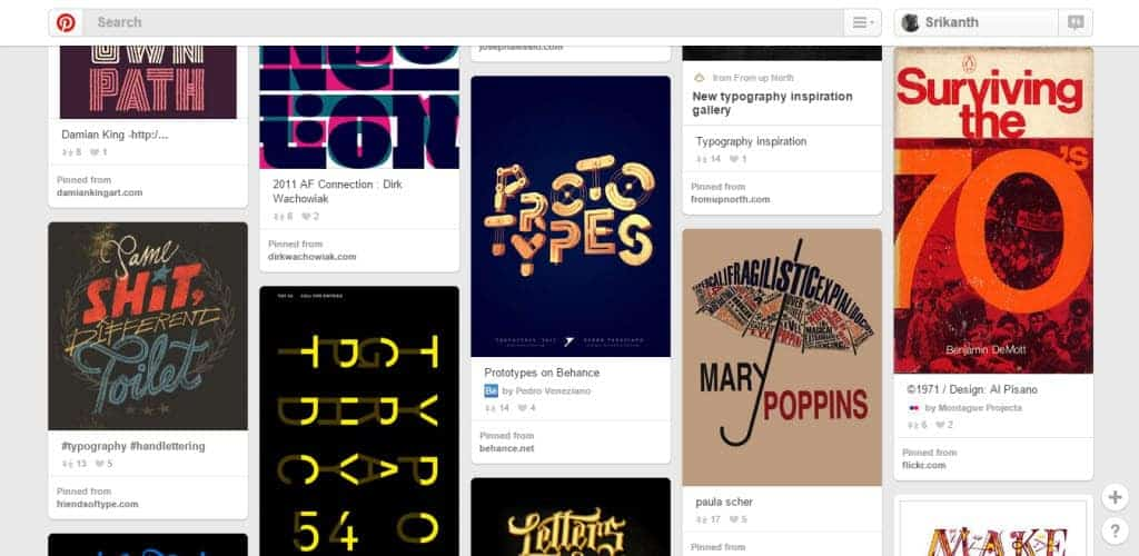 SmallBlackRoom Typography Pinterest Board