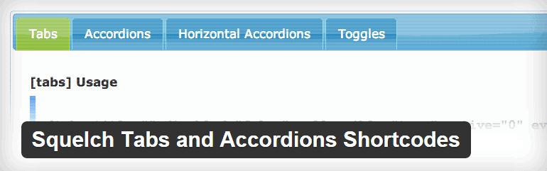Squelch Tabs and Accordions Shortcodes